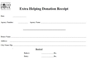 Extra Helping Donation Receipt