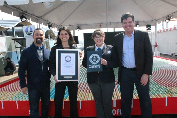Santa Monica City Council Member, Greg Morena, DoorDash's Head of Project DASH, Sueli Shaw, Guinness World Records Adjudicator, Christina Conlon and LA Regional Food Bank CEO, Michael Flood