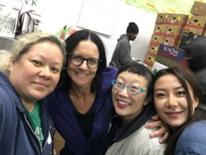 Paula Yoo volunteers at the Food Bank with friends on her 50th Birthday.