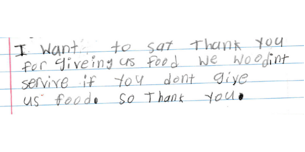 Note from student saying thank you for food.