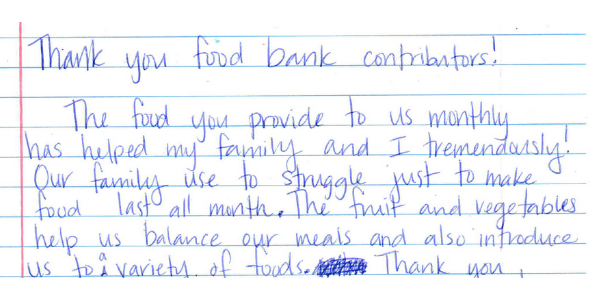 Note from a mother whose child receives food from the Food Bank.