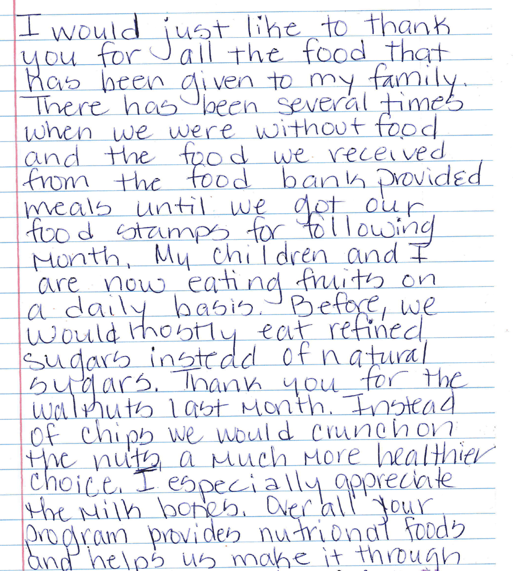 A note from a mother whose child receives food from the Food Bank.