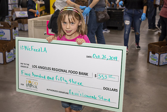 Eloise with her check