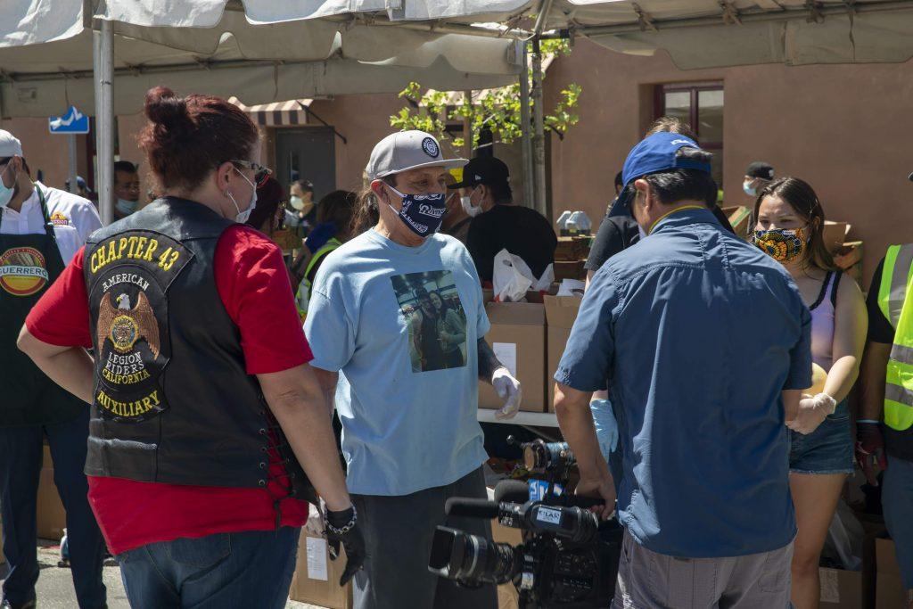 Danny Trejo at food distribution
