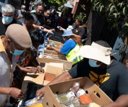 An aerial shot of a food distribution hosted by LA Regional Food Bank Partner in West Los Angeles.