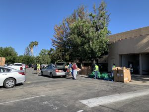 Drive-through distribution at LA Regional Food Bank Partner Agency site of First Church of the Nazarene in Pasadena, CA.