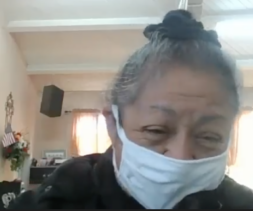 A screenshot of a volunteer and food recipient during a virtual interview.