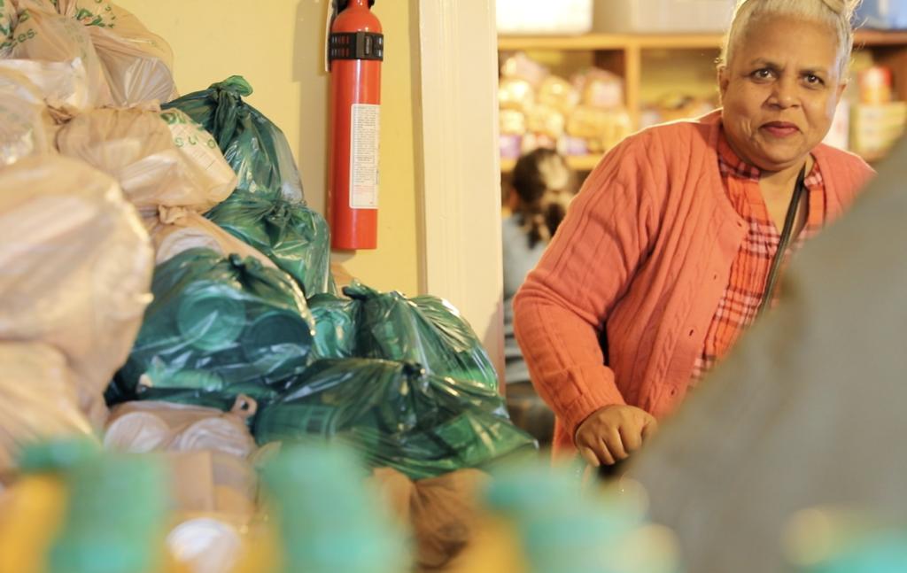 Carol receives healthy food at one of the Food Bank's partner agencies.