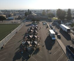 Aerial view of a drive through distribution hosted by the Los Angeles Regional Food Bank.