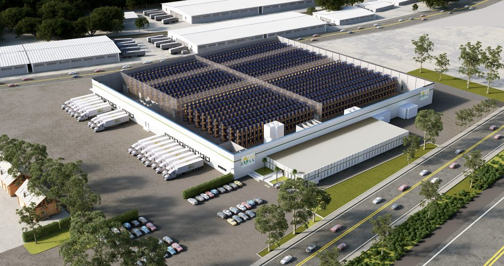 A 3D rendering of the City of Industry LA Regional Food Bank warehouse.