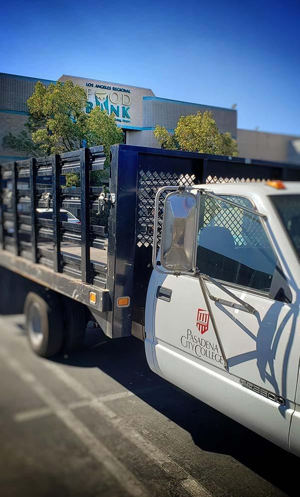 Pasadena City College's Truck picks up food at the Los Angeles Regional Food Bank