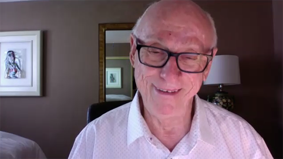 A screenshot of a donor in a virtual interview with the LA Regional Food Bank for story gathering purposes.