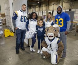 Rams players cheerleaders and mascot