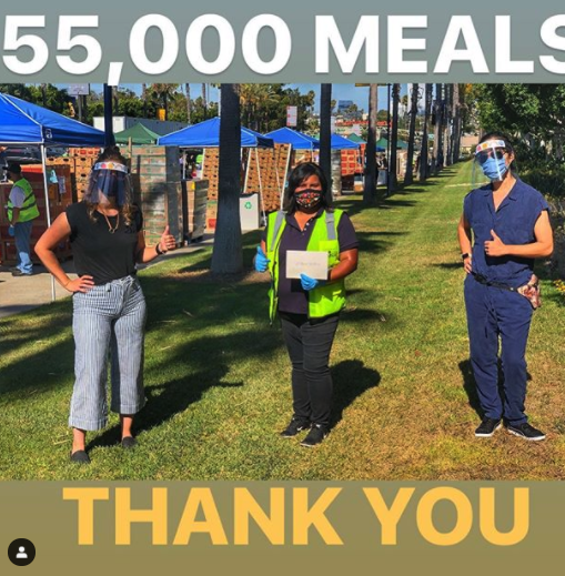 Jeanne and Quyen presented the amount raised at that time (7/18/20), enough for 55,000 meals, to the Programs Director Hilda Ayala on behalf of the Food Bank at the drive-through distribution held in Carson.