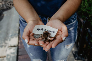 Make a change hands with coins